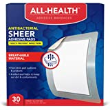 All Health Antibacterial Sheer Adhesive Pad Bandages, 3 in x 4 in, 30 ct | Helps Prevent Infection, Extra Large Comfortable P