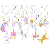 30 Ct Unicorn Hanging Swirl Decorations-Unicorn Party Decorations-Unicorn Birthday Party Supplies