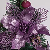 RECUTMS 12 Packs Christmas Glitter Poinsettia Flowers Artificial Christmas Flowers Decorations Wedding Xmas Tree New Year Orn