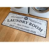 Benissimo Laundry Room Rug, Non Skid Rubber Area Rugs, Cotton, Durable, Anti Fatigue, Machine Washable, Runner Floor Mat for