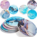 Enkore Absorbent Coasters for Drinks, Marbling with Golden Veins On Large Ceramic Stone with Cork Backing, Drink Spills Coast