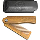 Folding Beard Comb w/Carrying Pouch for Men - All Natural Wooden Beard Comb w/Gift Box - Green Sandalwood Comb for Grooming &