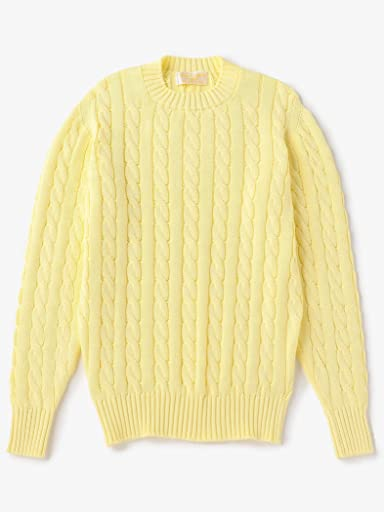 Cotton Cable Crewneck Sweater 1113-343-3880: Yellow