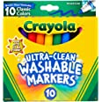 CRAYOLA 58-7851 Washable Markers 10pk, Ultra Clean, Thick or Thin lines, Durable Tip, Student, School, Classroom