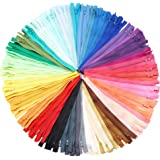 #3 Nylon Coil Zippers for Sewing, 50 Colors (8 Inches, 100 Pieces)