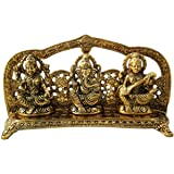 Trendy Crafts White Gold Metal Laxmi Ganesh Saraswati Handcrafted Showpiece For Home Decor Gift Item