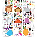 JOYIN 36 PCS Make-a-face Sticker Sheets Make Your Own Animal Mix and Match Sticker Sheets with Safaris, Sea and Fantasy Anima