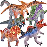 JOYIN 6 Pcs 12'' to 14'' Educational Realistic Dinosaur Figures Toy with Dinosaur Booklet