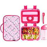 Meillen Kids Bento Lunch Box, Insulated Cooler Bag & Water Bottle, Leak-Proof 4-Compartment Snack Box, Reusable Soft Tote, To