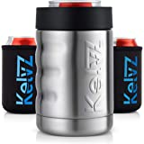 KelvZ Insulated Stainless Can Cooler Beer Holder - Fits All Standard 12oz Cans & Bottles + Bonus 2 Stylish Can Coolies - Bott