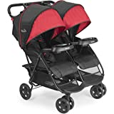 Kolcraft Cloud Plus Lightweight Double Stroller with Reclining Seats & Extendable Canopies, Red/Black