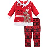 Lilax Baby Girl Reindeer Christmas Holiday Outfit Two Piece Playwear Set