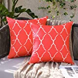 MIULEE Pack of 2 Outdoor Waterproof Throw Pillow Covers Morocco Geometric Pattern Pillowcases Decorative Cushion Cases for Pa
