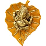 Charmy Crafts Metal Ganesha On Leaf, Wall Hanging Article for Wall Decor, Wedding Gifts, Best for Housewarming, Room Decor (M