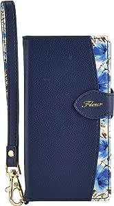 Natural Design FLEUR手帳型 4.7インチ対応 【iPhone 8/7】ネイビー (カードポケット&ハンドストラップ付)