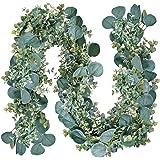9.2' Long Mixed Eucalyptus Artificial Greenery Garland Silver Dollar Eucalyptus Leaves Baby Eucalyptus Floral Vine for Weddin