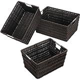 Whitmor Rattique Storage Baskets - Espresso (3 Piece Set)