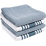KAF Home KT-MADWF-SW-S4 Centerband and Waffle Flat Absorbent, Durable, Soft, and Beautiful Towels | Perfect for Kitchen Messe