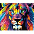 Paint by Numbers-DIY Digital Canvas Oil Painting Adults Kids Paint by Number Kits Home Decorations-Colorful Lions 16 * 20 inc