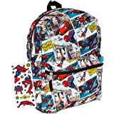 "Marvel Spiderman Backpack for Boys Girls Kids - 16"" Marvel Comics Spiderman School Backpack Bag Bundle with Avengers Stickers"