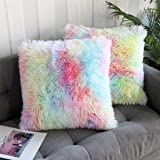 Uhomy 2 Packs Home Decorative Super Soft Luxury Series Plush Faux Fur Throw Pillow Cover Ombre Color Cushion Case for Sofa/Be