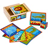TOWO Wooden Blocks Cube Puzzles for Kids - Wooden Cube Jigsaw Puzzles 9 Wooden Cubes Blocks 6 Wild Animals Pictures in a Wood