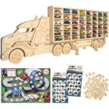 Handmade Wood Display Case for Toy Cars - Wall Storage Premium Organizer, Compatible w/Hot Wheels & Matchbox. Personalize w/N