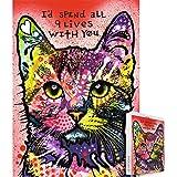 Ingooood-ジグソーパズル - 絵画シリーズ - カラフルな猫 '私はあなたと一緒にすべての9人の人生を過ごすだろう' - ディーン・ルッソ - 成人繁殖のための1000個の木製のパズルの装飾のおもちゃ (猫)