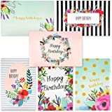 48 Pack Happy Birthday Greeting Cards - 6 Unique Colorful Birthday Cards for Her Watercolor Floral Flower Designs Bulk Box Se