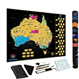 Large Premium Scratch Off Map Of Australia Poster Deluxe Adventure Personalised Travel by Kaleidoscope World Large 82 x 60 CM
