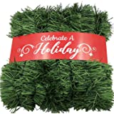 50 Foot Garland for Christmas Decorations - Non-Lit Soft Green Holiday Decor for Outdoor or Indoor Use - Premium Quality Home