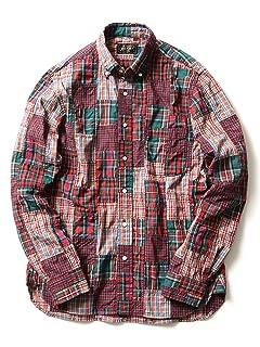 Crazy Patchwork Buttondown Shirt 11-11-2478-139: Red