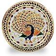 Crafts'man Decorative Puja Thali/Platter with Beautiful Peacock Design for Hindu Temple Rituals, Mandir Temple Accessory - Sp