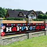 Happy 4th of July Patriotic Banner Decorations, USA Independence Day American Flag Porch Sign, Memorial Labor Day Wall Hangin
