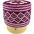 Handmade 100% Eco-Friendly Thai Bamboo Sticky Rice Serving Basket - Purple Colored Wickerwork with Vegetable Plant Based Dye