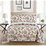 All American Collection 3 Piece New Printed Modern Bedspread Coverlet, Floral, Cal King, Beige