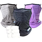 Dpaxt Bandana Face Mask with Ear Loops 3 pack 3 neck Gaiter with 6Pcs Filters PM2.5 Pocket Balaclava UV sun protection Reusab