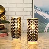 JHY DESIGN Set of 2 Metal Lamp Battery Powered Cordless Accent Light with LED Great for Weddings Parties Patio Events for Ind
