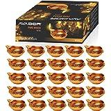 Avador Handmade Brass Indian Puja Oil Lamp, Golden Diya Lamp Engraved Design Diya for Diwali Pooja 2.5 Inch (20)