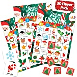 Christmas Holiday Bingo Game for Kids, Adults and Large Groups - 30 Players - Xmas Winter Bingo Cards Indoor Home Family Acti