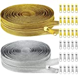 2 Rolls Nylon Coil Zippers 5 Yards of Sewing Zippers Tape Long Zippers Metallic Teeth Zipper with 30 Pieces Zipper Sliders fo