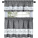 GoodGram Country Gingham Check Live~Laugh~Love 3 Pc. Café Plaid Kitchen Curtain Set - Assorted Colors & Sizes, Polyester & Po
