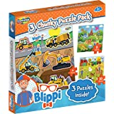 Blippi Montessori Chunky Puzzles for Kids & Toddlers - 3-in-1 Chunky Puzzle Set Ages 2+ Wooden Animal Puzzle for 2 Year Old -