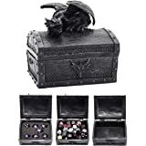 Forged Dice Co. Deluxe Dragon Dice Storage Box with Custom Dice Foam Insert - Container Holds up to 6 Sets of Polyhedral Dice