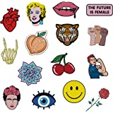 RipDesigns - Large Assorted Set of 15 Aesthetic, Hipster and Cool Feminist Iron On Patches for Jackets Backpacks Jeans and Cl
