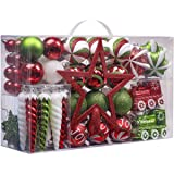 Valery Madelyn 100ct Classic Collection Splendor Shatterproof Christmas Ball Ornaments Decoration Red Green White 0.78Inch-6.
