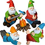 Mood Lab Miniature Garden Gnomes - Camping Gnome Kit of 5 pcs - Figurines and Accessories Set
