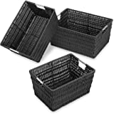 Whitmor Rattique Storage Baskets - Black - (3 Piece Set)