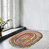 Zahra Jute Cotton Area Rug- 2x3 Feet Oval Hand Woven Multicolor Recycled Cotton Reversible Braided Rag Rug