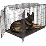 XL Dog Crate | Midwest iCrate Double Door Folding Metal Dog Crate w/Divider Panel, Floor Protecting Feet & Leak-Proof Dog Tra
